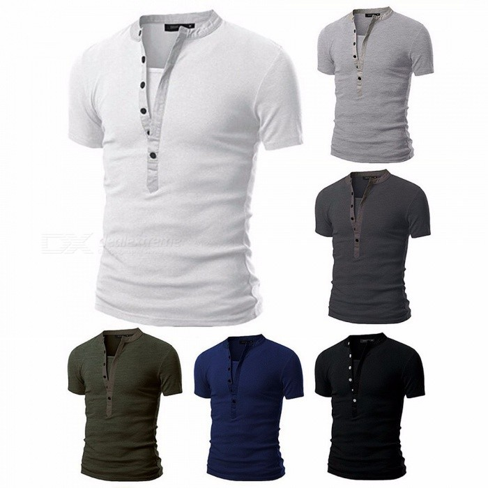 Fashion Breathable Slim Elastic Splicing Multi-Button Round Neck Short Sleeve Men's T-Shirt Tee Top Black/M