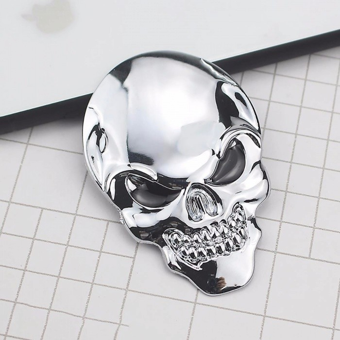 Personalized 3D Car Sticker Label, Skull Bone Devil Auto Metal Emblem Badge Decal Silver