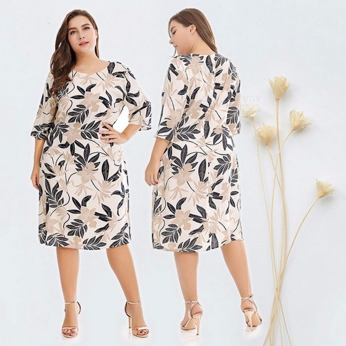 Fashion Large Size Round Neck Floral Print Three Quarter Sleeve Dress, Popular Women Tops Beige/XL