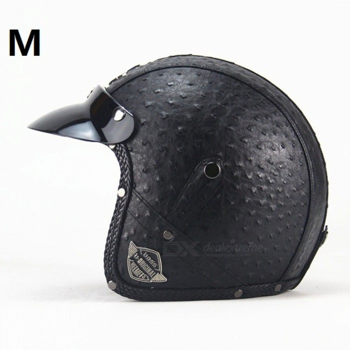 ZHAOYAO PU Leather Harley Helmets 3/4 Motorcycle Chopper Open Face Motorcycle Helmet with Goggle Mask - Personality Black-M