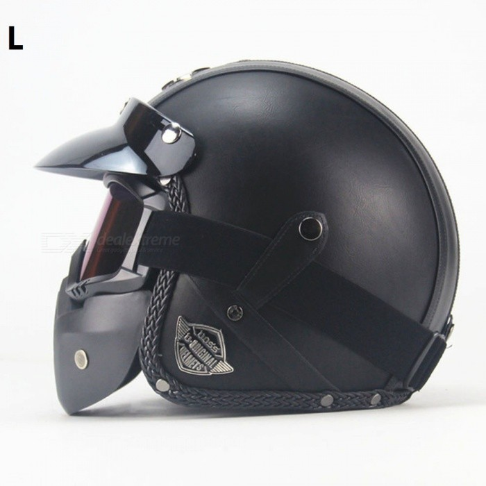ZHAOYAO PU Leather Harley Helmets 3/4 Motorcycle Chopper Open Face Motorcycle Helmet with Goggle Mask Classic Black2 - L