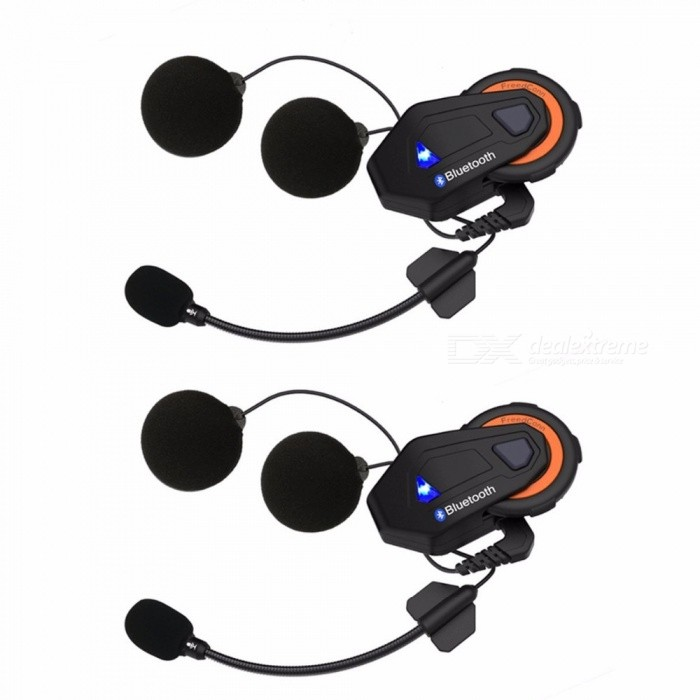 2Pcs 1000m Bluetooth Motorcycle Helmet Headset, Motorbike Casco Helmet Walkie-talkie - EU Plug
