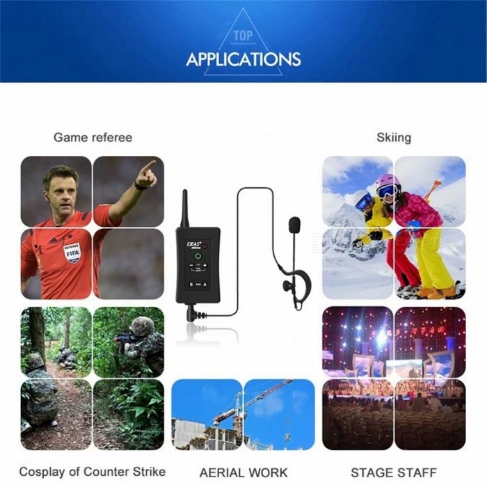 EJEAS Soccer Referee Intercoms, FBIM 1200m Wireless Full Duplex Bluetooth Interphone with FM Function