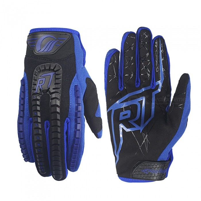 Riding Tribe Motorbike Racing Glove, Touch Screen Gloves - Blue (Pair / M-Size)