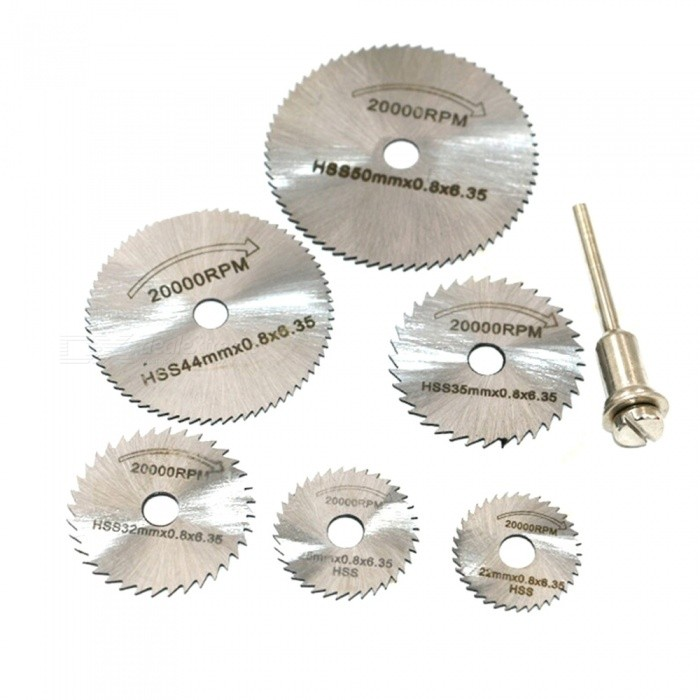 6Pcs Saw Blades + 3.2mm Rod, High Speed Steel Cutting Piece