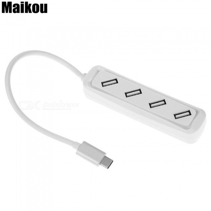 Maikou USB-C Hub, Type-C to 4 USB 2.0 Ports Adapter Splitter for Macbook Laptop PC - White