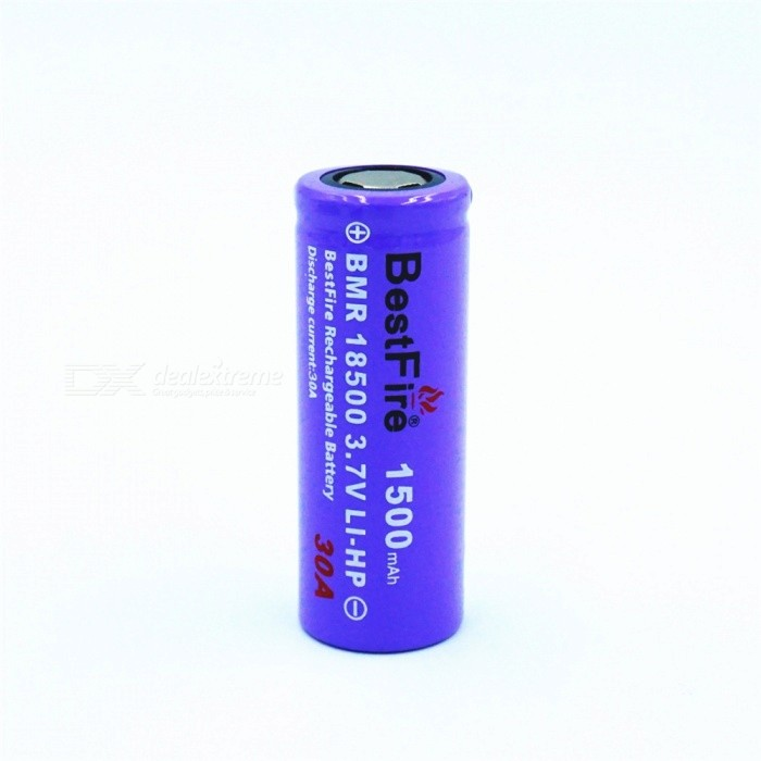 BESTFIRE IMR 18500 1500mAh 30A Rechargeable Lithiun Battery - Purple