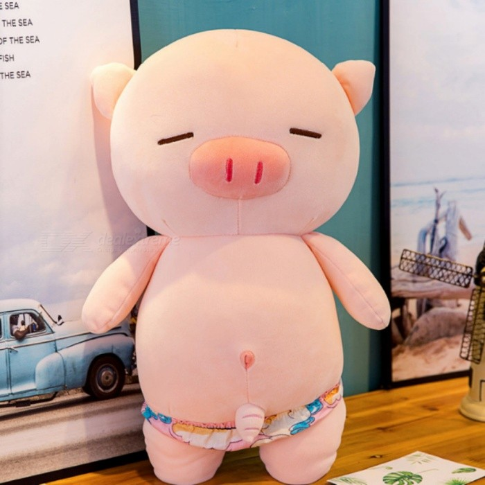 50cm Cute Stuffed Doll Pig Wearing Swimming Trunks Toy - Pink