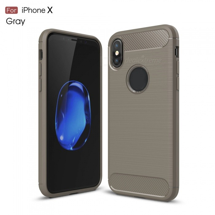 ZHAOYAO Carbon Fiber Texture TPU Soft Phone Back Cover Case for IPHONE X - Grey
