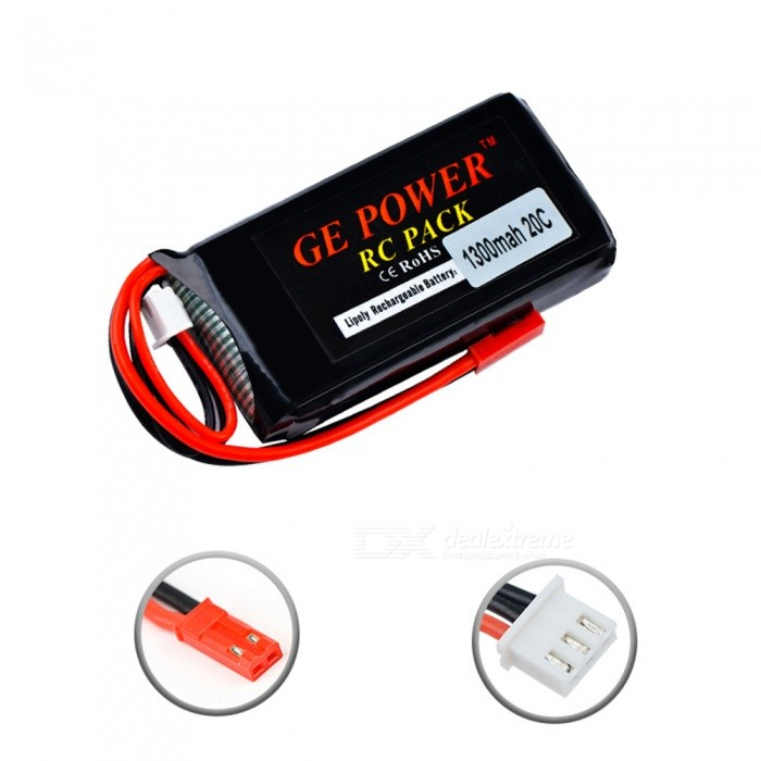 7.4V 1300mAh 20C JST Plug Lipo Battery 2s for RC Drone Models Helicopters Airplanes Cars Boat