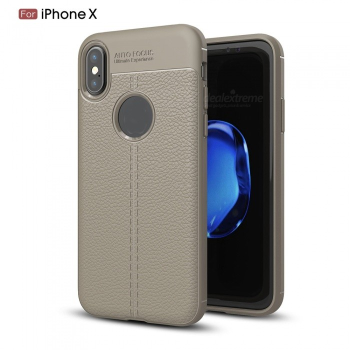 ZHAOYAO Lychee Pattern TPU Soft Phone Back Cover Case for IPHONE X - Grey