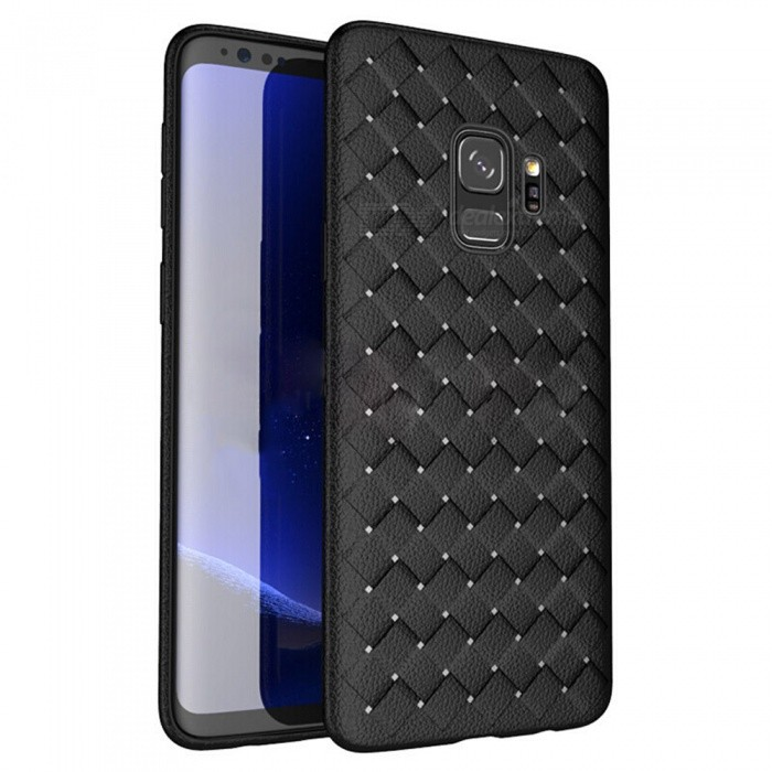 XSUNI Luxury Grid Weaving Super Soft Phone Back Case Cover for Samsung Galaxy S9 - Black