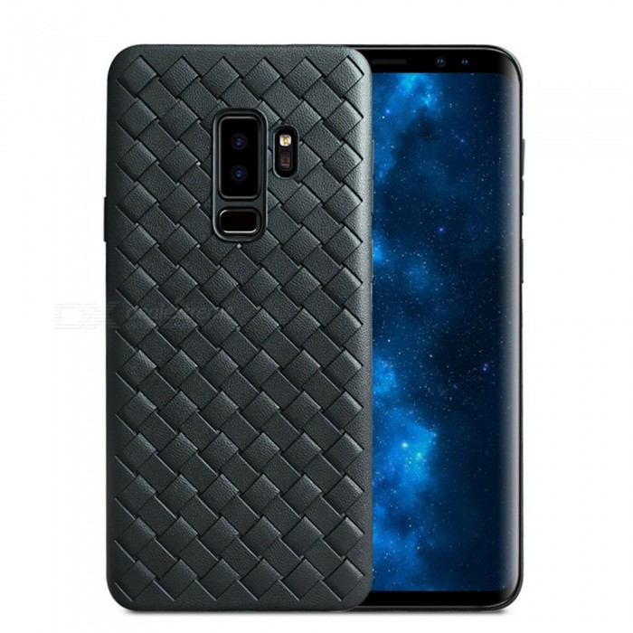 XSUNI Luxury Grid Weaving Super Soft Phone Back Case Cover for Samsung Galaxy S9 PLUS - Black