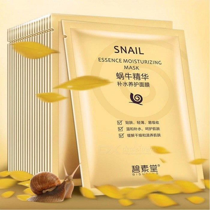 5 PCS Snail Moisturizing Face Mask Firming Smoothing Balance Water Oil Moisturizer Facial Mask