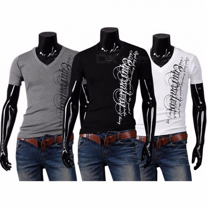 Summer Men's Trend Elastic Shirt Slim Wild V Collar Net Short Sleeve Solid Color Casual T Shirts For Men Black/M