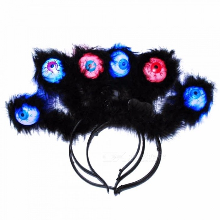 LED Light Up Eyeballs Hair Bands Halloween Flashing Alien Headbands Glow Party Hair Accessories Blue