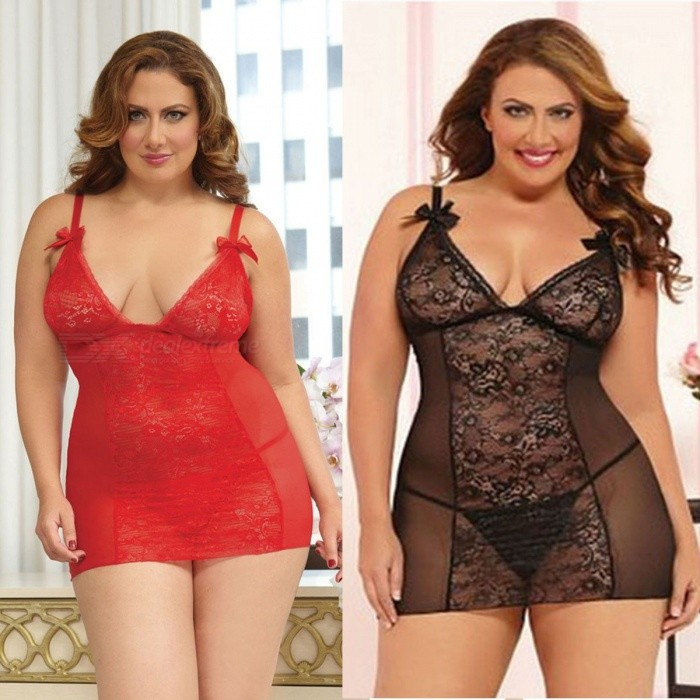 Women Erotic Costumes Sexy Lingerie Plus Size Open Back Lingerie Lace Babydoll Sleepwear Porno Lingerie For Women Black/XL