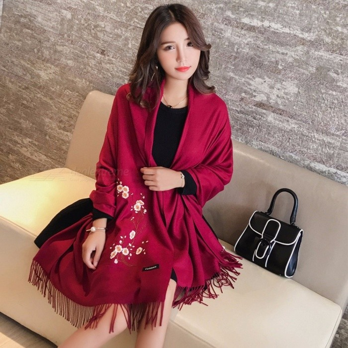 Fall And Winter Long Section Of Women\'s Fashion Plum Blossom Embroidery Scarf Knit Cardigan Scarves Pashmina Shawl Red