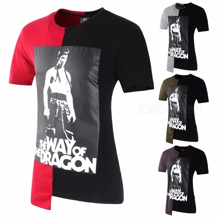 Bruce Lee Print Fashion Contrast Color Patching T-Shirt For Men Casual Cotton Short-Sleeve Irregular Tee Shirt Gray/M