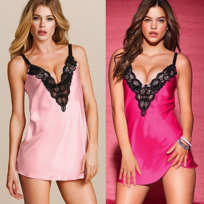 Sexy Deep V-Neck Translucent Lace Sleep Dress Summer Short Slip Dress Lingerie For Women Pink/M