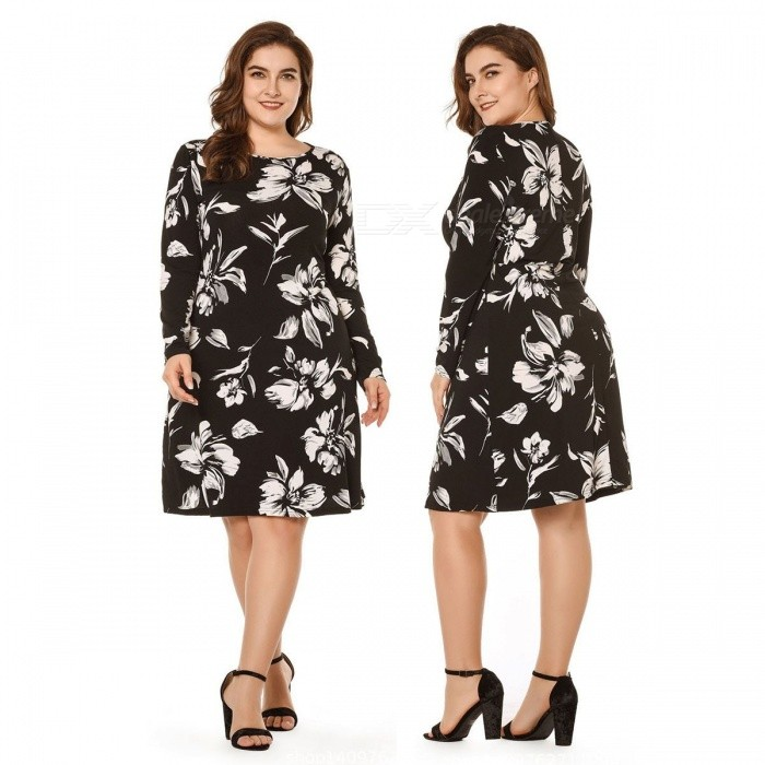 Floral Print Dress For Women Fashion Slim Fit Long Sleeve O-Neck Knee-Length Dress Black/XL