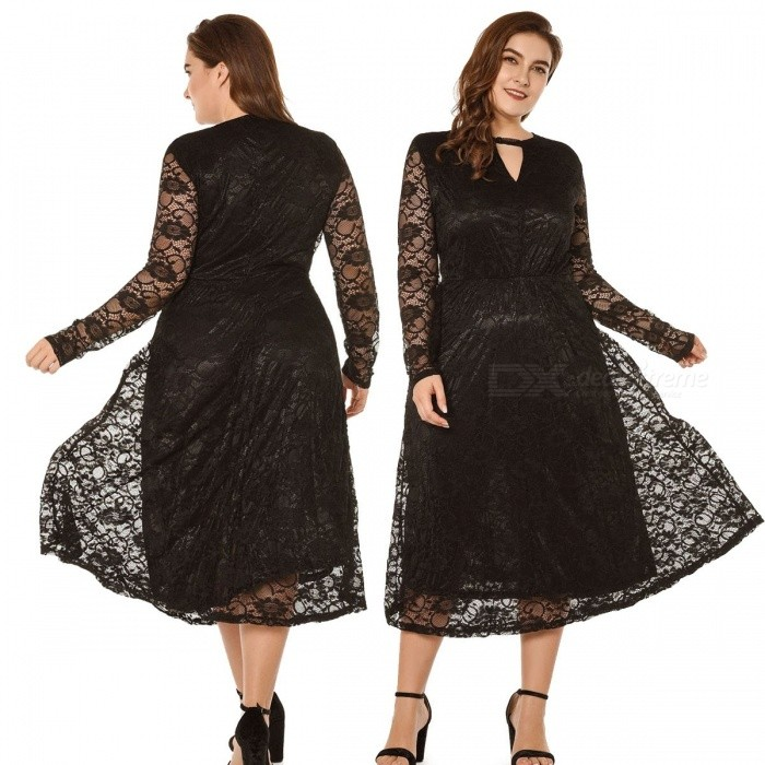Sexy V-Neck Translucent Lace Dress Double Layer Hem Hollow Out Long Sleeve Dress For Women Black/XL