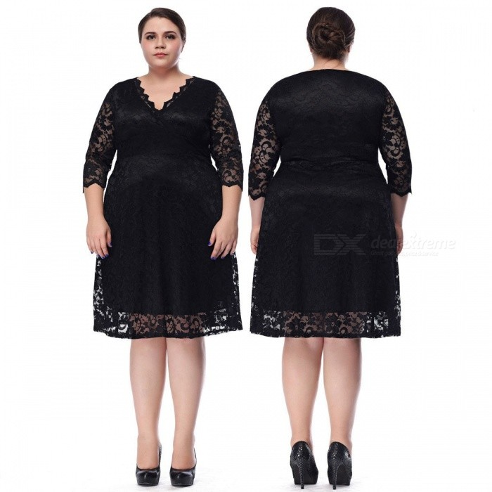Sexy V-Neck Translucent Lace Dress Double Layer Hem Hollow Out Three Quarter Sleeve Dress For Women Black/XL