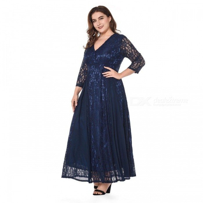 Sexy V-Neck Lace Dress Double Layer Hem Hollow Out Translucent Ankle Length Dress For Women Navy Blue/XL