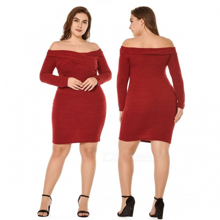 Autumn Elegant Off The Shoulder Long Sleeve Dress Fashion Sexy Large Knitted Knee-Length Slim Fit Dress For Women Burgundy/L