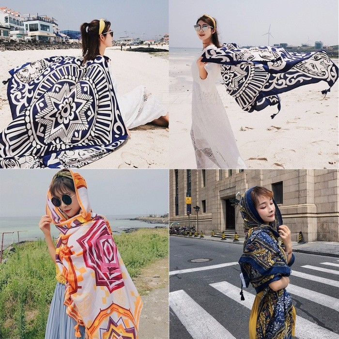 Fashion Print Thin Summer Beach Sun Shawl Polyester Scarf All-Match Wrap Air-Conditioned Room Shawl For Women Black