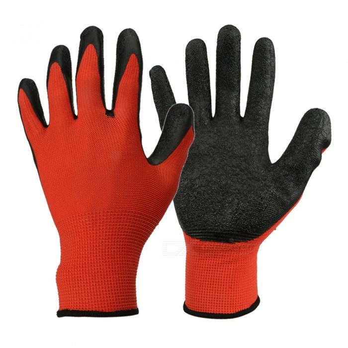Nylon Latex Labor Work Gloves Anti Cutting And Anti Skid Workplace Safety Hand Protection Cut-Resistant Red