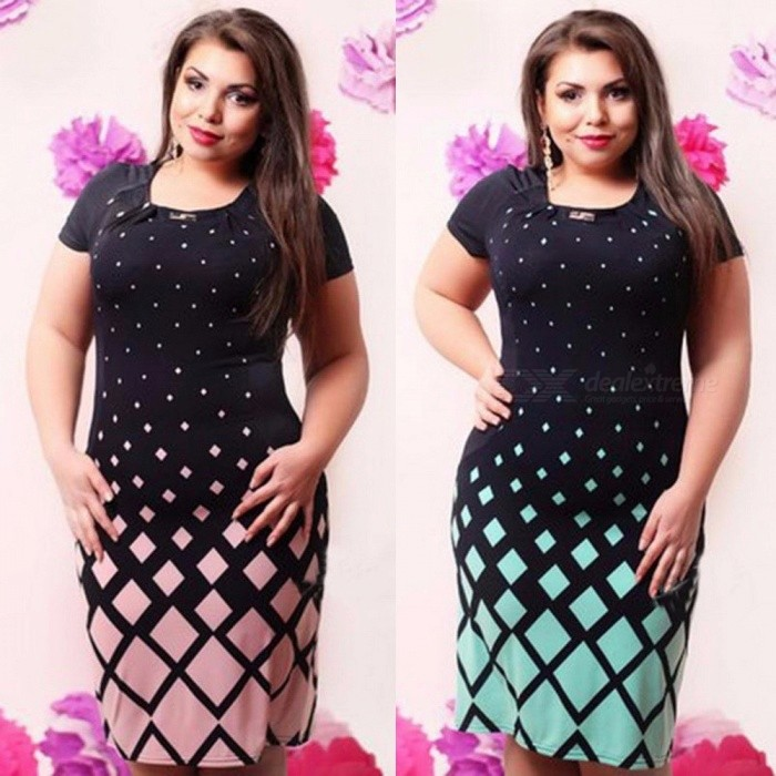 Summer Women's Dress Geometric O-Neck Pencil Skirt Version O-Neck Plus Size Dresses B543 For Women Pink/L