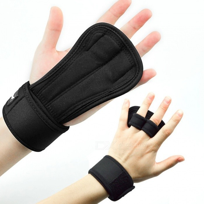 Weight Lifting Training Gloves, Fitness Sports Body Building Gymnastics Grips Gym Hand Palm Protector Gloves (1 PC) Black/Medium