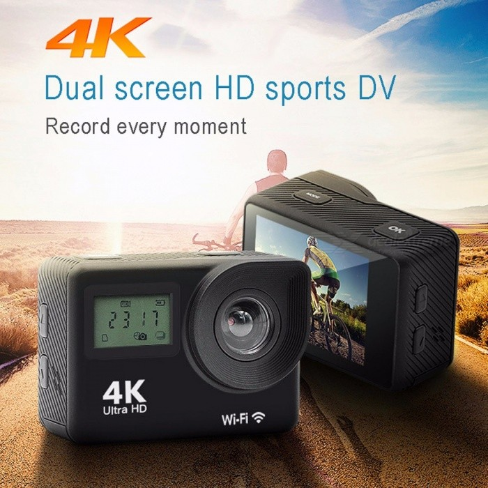 Waterproof Dual Screen Wi-Fi 4K HD 1080P Sports Action Camera, Outdoor Diving DV Cam Camcorder Black