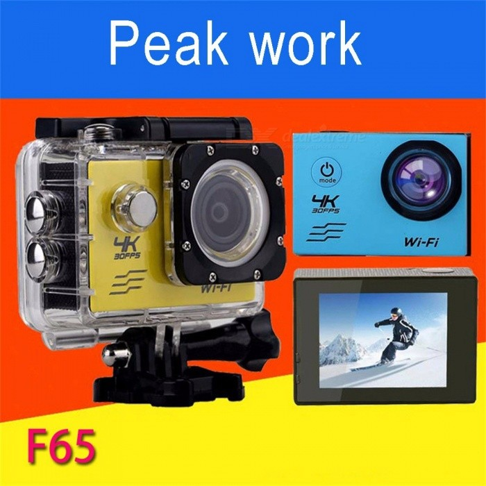 F65 Portable 30fps 4K HD Sports Camera DV, Waterproof Wi-Fi Action Camera Video Camcorder Black