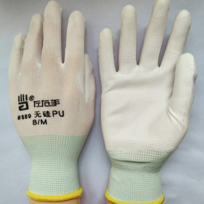 13-Pin Silicon-Free PU Anti-Static Wear-Resistant Soft Garden Gloves Labor Work Protective Gloves For Adults (1 Pair) White