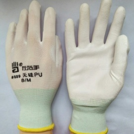 13-Pin Silicon-Free PU Anti-Static Wear-Resistant Soft Garden Gloves Labor Work Protective Gloves For Adults (12 Pairs) White