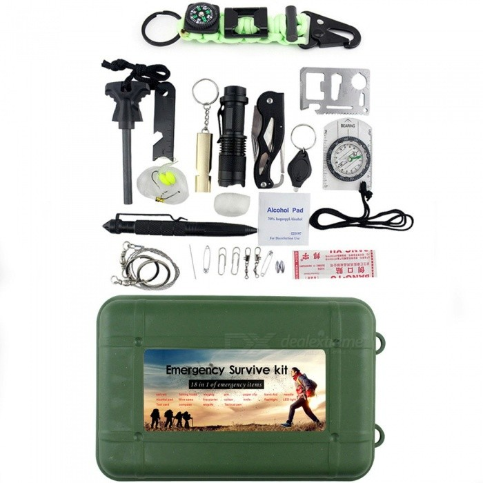 18-Piece SOS Emergency Survival Tool Box Kit With Flashlight, Compass, Flint Stone, Knife, Etc For Outdoor Camping Green