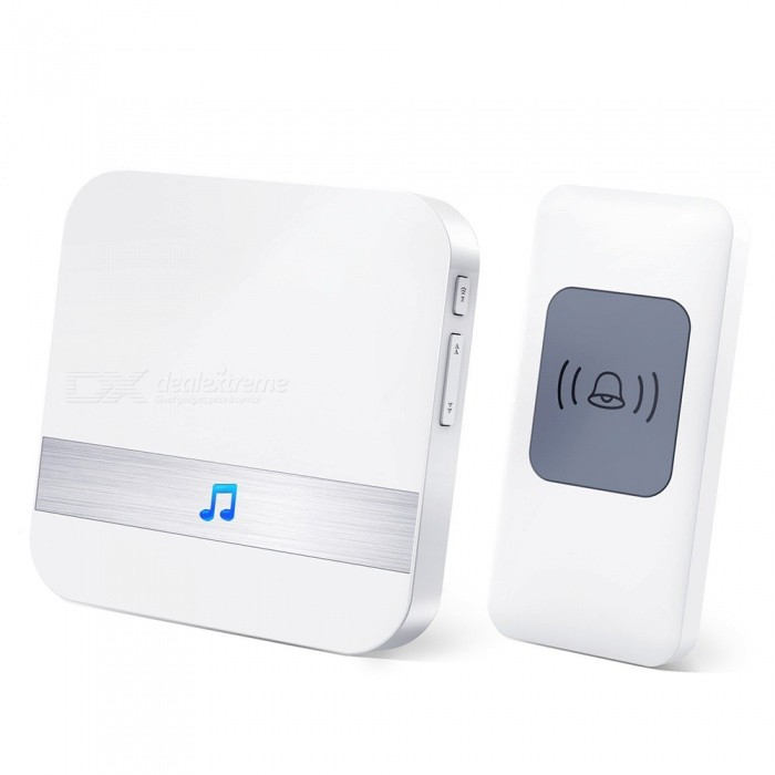 ELIMI-4-Levels-Volumes-52-Chimes-Wireless-Doorbell-White