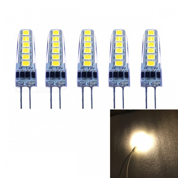 JRLED G4 2W 2835 12-LED Warm White LED Light Bulb DC12V  5 PCS - Warm White