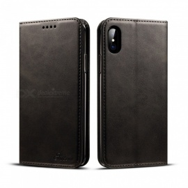 Measy Leather Wallet Phone Case with Card Holder Kickstand, Protective Folio Flip Cover for IPHONE X - Black