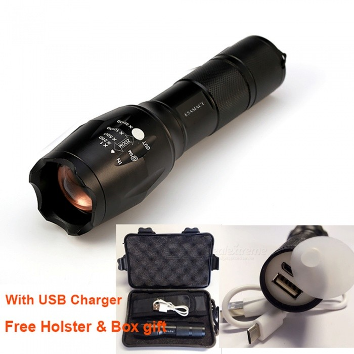 ESAMACT USB Flashlight Lantern LED CREE Tactical Torch Zoomable High Power Rechargeable LED Flashlights Lamp - Black