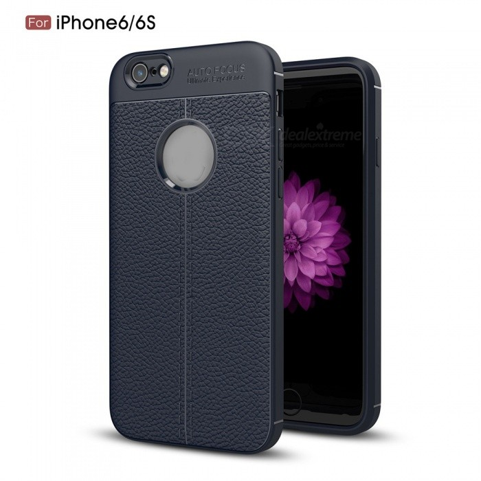 ZHAOYAO Leather Pattern Protective TPU Soft Back Cover Case for IPHONE 6 / 6S - Navy