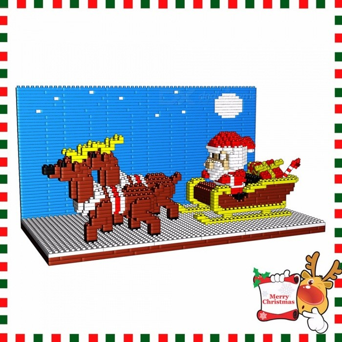 Christmas Santa Claus With Reindeer Diamond Small Building Blocks DIY Assembled Puzzle Toy Educational Toys For Kids Sky Blue