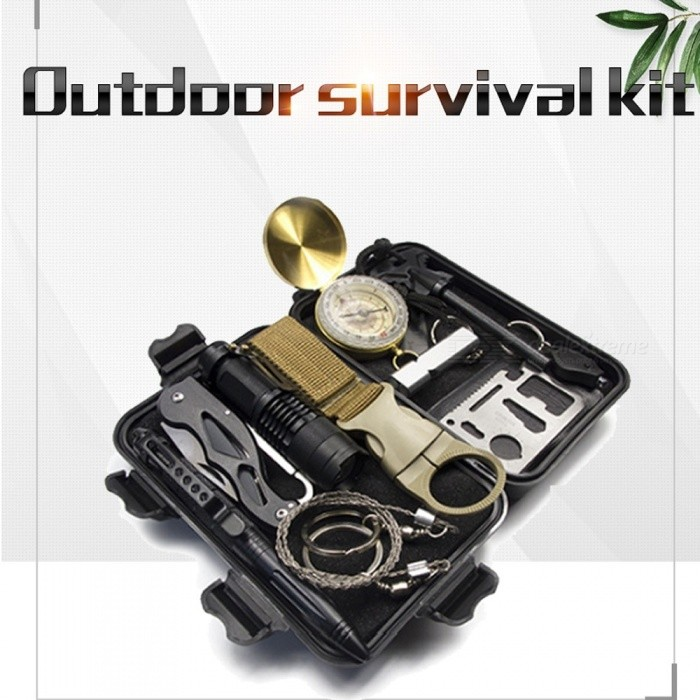 13-Piece SOS Emergency Survival Tool Box Kit With Flashlight, Compass, Flint Stone, Mini Knife, Etc For Outdoor Camping Black