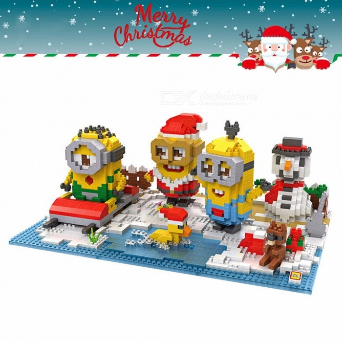 Diamond Christmas Themed Building Blocks Best Gift Development Of Intelligence Minions Toys Jigsaw Puzzles 9395 Yellow