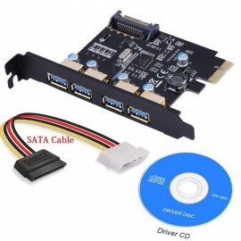 XINYUANSU USB3.0 PCI-E to USB 3.0 4 Port PCI Express Expansion Card,with 15-Pin Power Connector Desktops Super Speed Up to 5Gbps