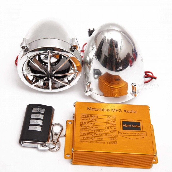 2.5 Inches Electroplating Anti-Theft Motorbike Speaker, Moto Motorcycle MP3 Audio Player Theft Protection, FM Radio Electroplating