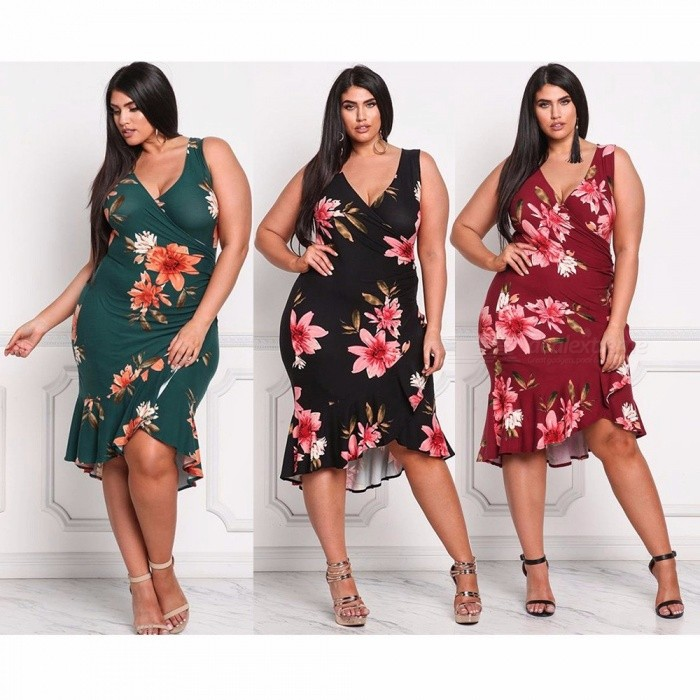 Floral Print Sexy Deep V Neck Sleeveless Dress For Women Plus Size