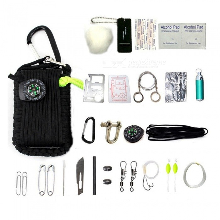 29-in-1 Portable Survival Tool Kit, First Aid Kit With Keychain, Compass For Outdoor Camping Red